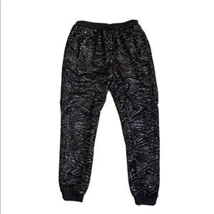 T Bags Black Sequin Jogger Pants Size Small